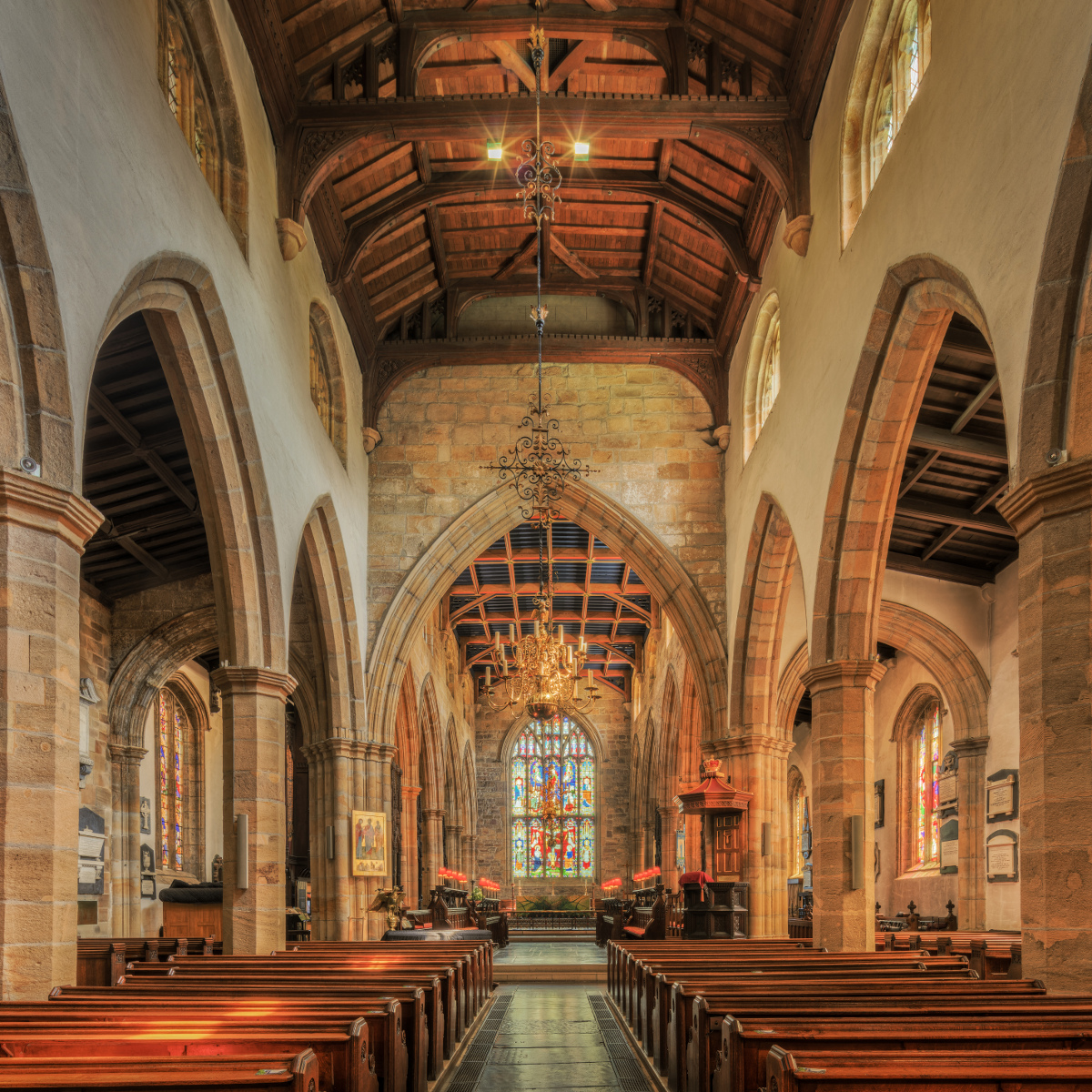 Inside Lancaster Priory the carved choirstalls are of oak and, dating from 1340, are the third oldest in England.